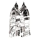 HatToSocks Musical Instruments and Notes Chiffon Satin Scarf (White/Black)