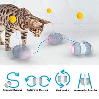 WATSABRO Jouet Chat Interactif,Automatique Jeu Chat avec Plume Accessoire pour Chat,Balles Chat avec Lumière LED et Batterie Rechargeable USB Jouet Interactif Électrique pour Animaux Chats