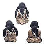 Homyl 3X Statue De Bouddha en Résine Mignonne Voiture Ornements Décor - Un Or