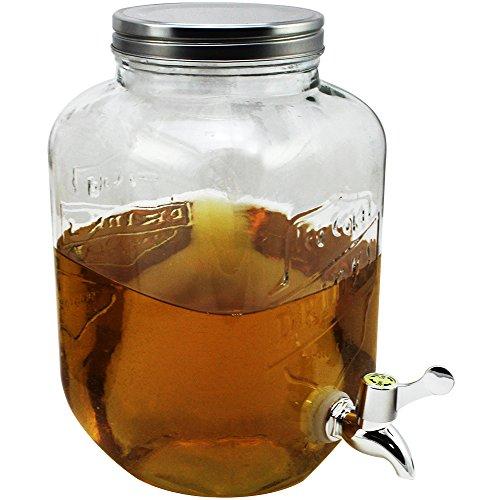 com-four® Wasser- und Saftspender mit Schraubverschluss, Getränkespender aus Glas im Einmachglas-Design mit Ausgießer, für bis zu 3,5 L (01 Stück - 3.5 Liter)