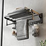 24 Inch Towel Rack with Towel Bar Holder Foldable Towel Shelf with Movable Hooks Rustproof Towel Storage Wall Mount for Bathroom Lavatory Matte Black
