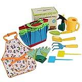 Aiyobucuo Conjunto de ferramentas de jardim infantil, inclui sacola resistente, regador, luvas, pá, estacas e um livro infantil encantador como contar o jardim, potes biodegradáveis para meninos e meninas