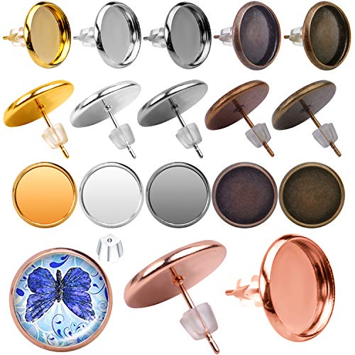 Aylifu Earring Cabochon Settings, 60pcs Stainless Steel Blank Stud Earring Bezel Post Cup fit for 12mm Cabochon with 60pcs Clear Earring Backs for Jewelry Making - 6 Colors