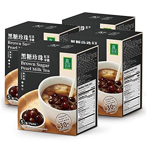 OKTEA Bubble Pearl Milk Tea with Brown Sugar Kit - Assam Blend, Slow-Roasted Brown Sugar, New Zealand Milk, Preservative-Free Tapioca, Serve Hot or Iced - 4 Packs of 5 Servings (20 Portions)