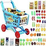 deAO Carrito de la Compra Infantil Incluye Variedad de 50 Productos de Mercado y Comestibles para...