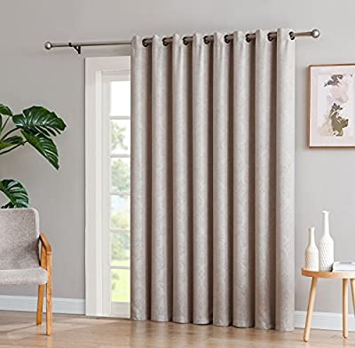 "LinenZone Evelyn - 1 Patio Extra Wide Curtain Panel with 16 Grommets - Embossed Thermal Weaved Blackout - Noise Reduction Fabric - Ideal for Sliding and Patio Doors (Patio 102"" W x 84"" L, Ivory)"