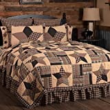 VHC Brands Country Bedding Denton Cotton Pre-Washed Patchwork Star California King Quilt, Soft Black