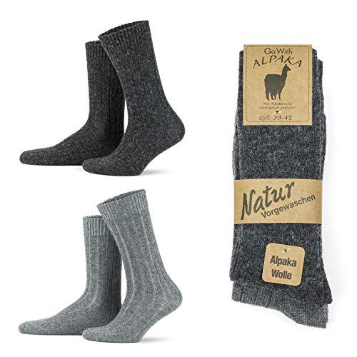 Go With Collection 2 Paar Alpaka Socken für Damen und Herren Kuschelsocken Wintersocken warme und flauschige Stricksocken Wollsocken