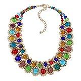 YAZILIND Mujer Collar Cristal Rhinestone Rhinestone Verde clavícula joyería Retro Collar étnico declaración (#3)
