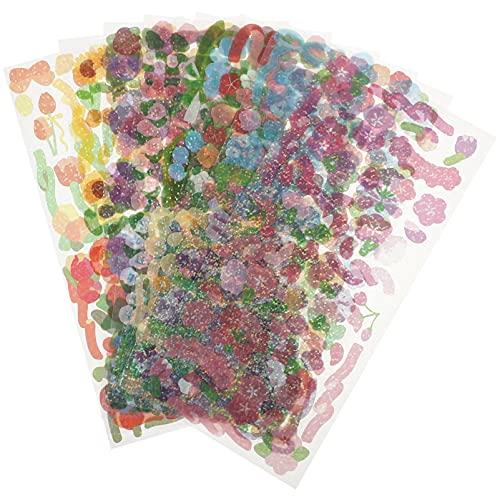 EXCEART 8 Hojas Coloridas Pegatinas de Flores Autoadhesivas para Scrapbooking Pegatinas DIY Diary Sticker Pegatina de Diario Etiqueta de Sellado para Planificadores de Sobres