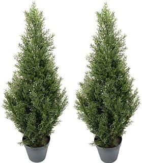 TWO Pre-potted 3' Artificial Cedar Topiary Outdoor Indoor Tree
