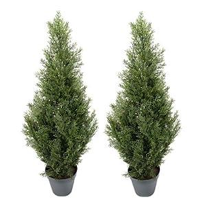 TWO Pre-potted 3′ Artificial Cedar Topiary Outdoor Indoor Tree