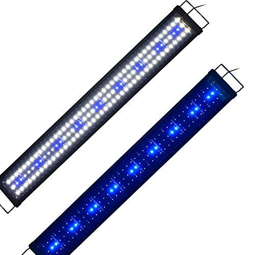Aquarium Eco Aquarium-Lampe, Licht Weiß-Blau/RGB mehrfarbig, Lampe mit Clip–28cm-180cm, LED-Lampe– EU-Stecker, ausziehbar, AC 100-240V, Blanc-Bleu 90cm, 90 cm, B15d 220.00 volts