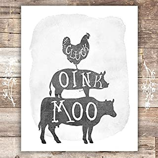 Rustic Farm Animals - Unframed - 8x10s | Cow, Pig, Chicken