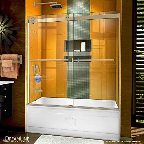 DreamLine Sapphire 56-60 in. W x 60 in. H Semi-Frameless Bypass Tub Door in Brushed Nickel, SHDR-6360602-04