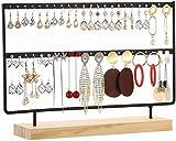 Sooyee 2-Tier 46 Holes Earring Display Holder,Metal 2 Layers Jewelry Storage Organizer Wood Stand Tree,Ear Stud Rack Gift for Women,Girls,Black