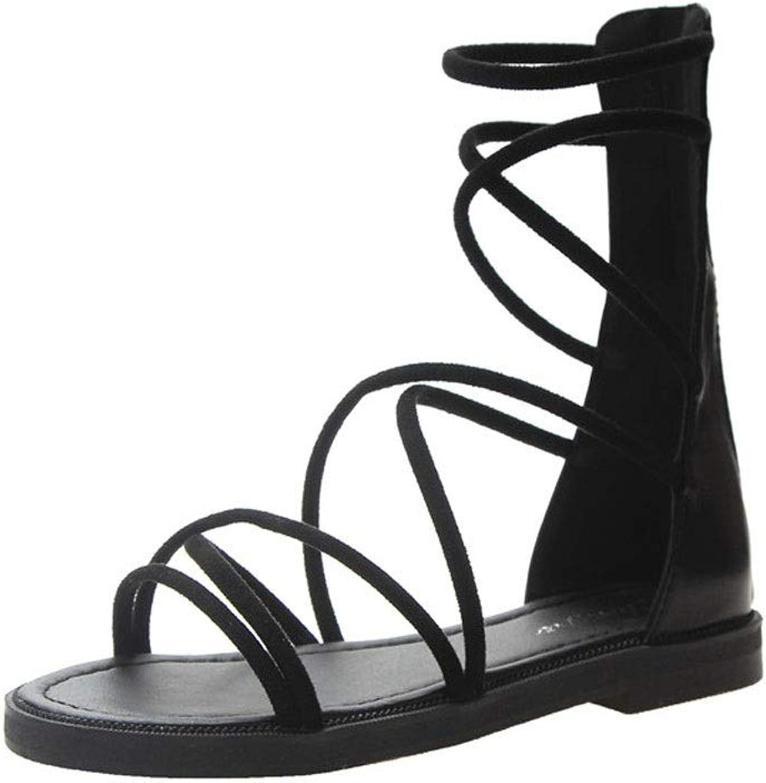LPYMX Women's l Sandals, Faux Leather Open Toe Strap Flat Sandals