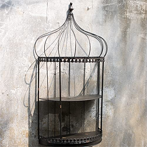 BESISOON Estantes Flotantes Montados En La Pared Metal Hierro Pájaro Jaula Exhibición Pared Estante País Rústico Decoración Artesanal Almacenaje Estante Metálico Europeo Retro para Oficina Decoración