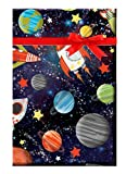 Space Gravity Planets Moon Earth Space Rocket Galaxy Gift Wrap Wrapping Paper - 5ft Roll with Gift Tags