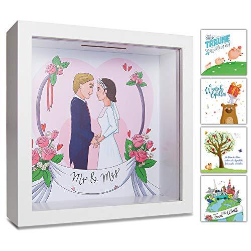 GLÜCKSWOLKE - Spardose Mr & Mrs I Motiv Hochzeit I 3D Bilderrahmen befüllen I Geldgeschenke Verpackung für JGA, Brautpaar, Hochzeitsgeschenk I Sparschwein Deko I Sparbüchse Hochzeitskasse Geschenk