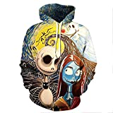unknow Halloween Fright Pareja Manga Larga Pullover Sudadera con Capucha Mujer S-XXXXXL
