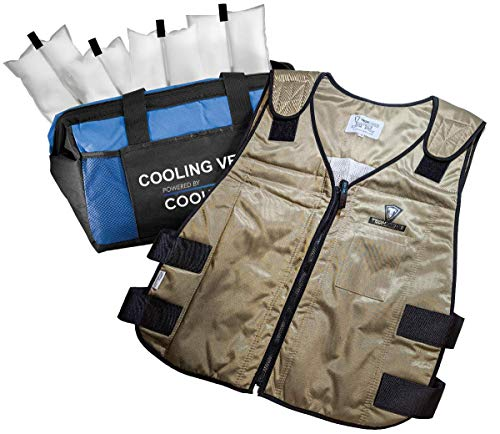TechKewl 6626 Phase Change Cooling Vest Khaki, Medium-Large