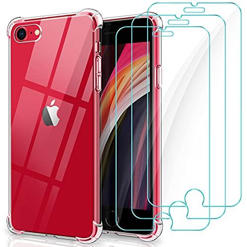 YNMEacc Coque pour iPhone Se 2020, Transparente iPhone 8 /iPhone 7 Coque avec 3 Verre Trempé Protection écran [4 Coins Renforcés], Souple Etui Silicone Antichoc Bumper Housse pour iPhone Se 2020/8/7
