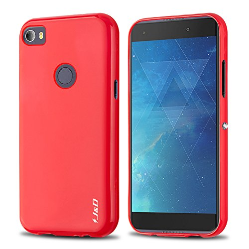 JundD Kompatibel für Alcatel Idol 5S Hülle, [Leichtgewichtig] [Fallschutz] Stoßfest TPU Slim Hülle für Alcatel Idol 5S - [Nicht kompatibel mit Alcatel Idol 5] - Rot