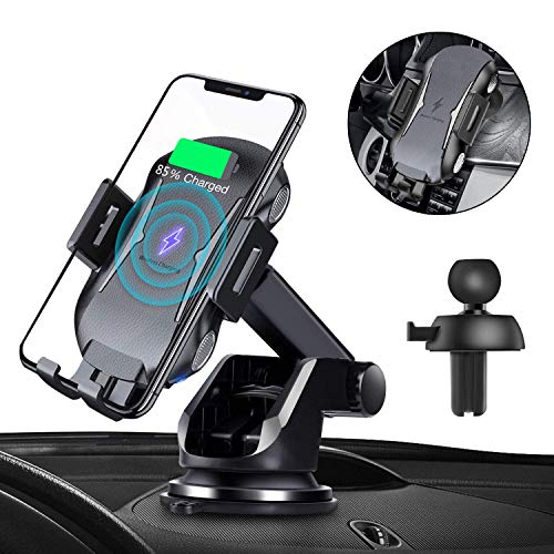 Automatic Clamping Qi Wireless Car Charger, SANCEON 10W/7.5W Fast Charger Car Mount Phone Holder for Air Vent Dashboard Compatible with iPhone Xs/Xs Max/XR/X/8/8Plus, Samsung Galaxy S10/S10+/S9/S9+/S8