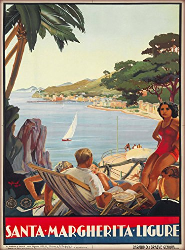 A SLICE IN TIME Genoa Santa Margherita Ligure Italy Vintage Italian Travel Advertisement Art Poster Print. Measures 10 x 13.5 inches
