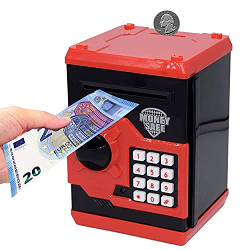 Auped Salvadanaio Elettronico Password , Salvadanaio Mini Bancomat Salvadanaio, Banca Dei Soldi Delle Password Per Contanti Monete Bancomat Mini Monete Migliori Regali Per Bambini (Rosso)