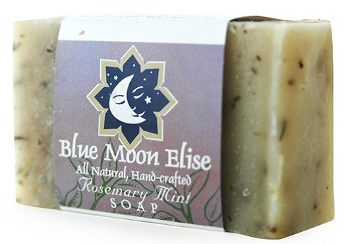 Blue Moon Elise Rosemary Mint All Natural Bar Soap, Scented with Premium Rosemary Mint Essential Oils, Made with Organic Ingredients, Handmade in the USA, Moisturizing and Therapeutic for Face/Body, For Sensitive Skin, For Men and Women