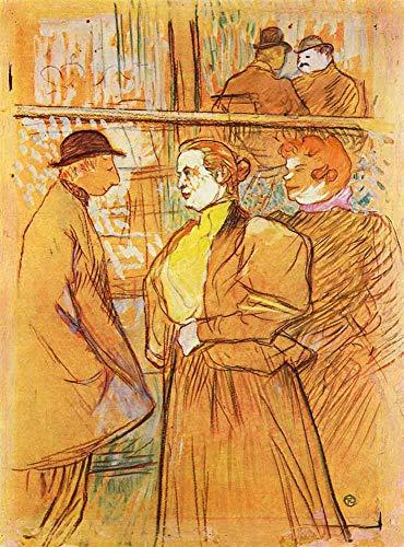 JH Lacrocon Henri de Toulouse-Lautrec - En Moulin Rouge Reproducción Cuadro sobre Lienzo Enrollado 80X120 cm - Pinturas La Vida Nocturna Impresións Vintage Decoración Muro