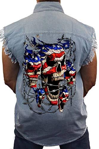 SHORE TRENDZ Men's Sleeveless Denim Shirt USA Flag Skulls & Chains Biker:...