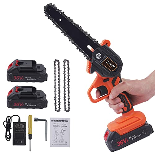 ZNP Mini Chainsaw Cordless, Battery Powered Chainsaw, 6 inch Handheld Portable Chain Saw for Tree Pruning, Electric operated Small Chainsaw for Gardening Tree Branch Wood Cutting (6 inch-Orange)