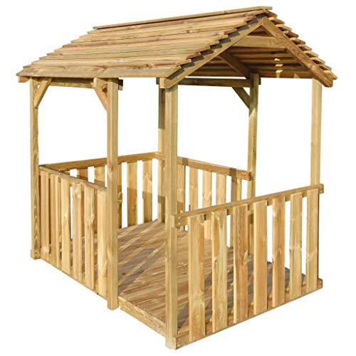 tidyard Casa de Verano para Niños,Casa de Juegos de Jardín,Carpa de Jardín,Casa de Madera,Madera de Pino 122,5x160x163cm