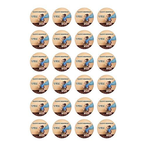 Tortenaufleger mit Wunschfoto und Wunschtext Geburtstag Tortenbild Zuckerbild Oblate Tortenplatte mit eigenem Foto und Text (Oblatenpapier Muffinaufleger 24 Stück a 4cm)