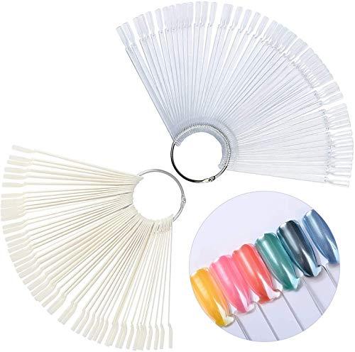 Display a punta di 100 pezzi per chiodi, bastoncini di display per bastoncini con supporto ad anello in metallo per falsi smalti gel art display a colori - 2 set, a forma di ventaglio