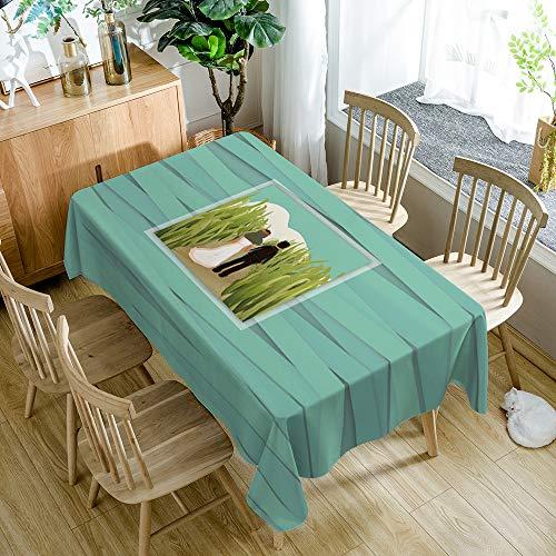 Tafelkleed rechthoek trouwjurk liefde moderne minimalistische keukenbenodigdheden (55x78 inch, polyestervezel)