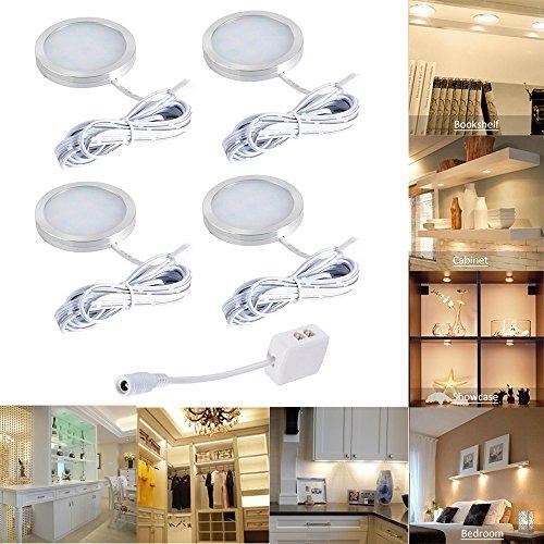 LED bajo luz de gabinete, Luz de Bajo Armario, luminación para Vitrinas, Blanco cálido Luces para muebles, 12V LED Luces de Armario Empotrable (4 Unidades)