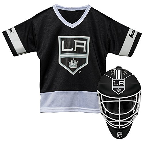 Franklin Sports Los Angeles Kings Kid's Hockey Costume Set - Youth Jersey & Goalie Mask - Halloween Fan Outfit - NHL Official Licensed Product
