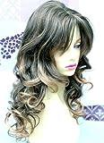 Perruque aux cheveux ondulés - Couleur brune avec mèches couleur miel blond clair -...