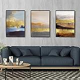 Cuadro moderno nórdico de lámina dorada, abstracto, lienzo para pared, póster decorativo para hotel, sala de estar, decoración del hogar, (50 x 70 cm) x 3 sin marco