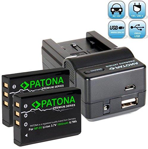 Patona Ladegerät 4 in 1 mit 2X Premium Ersatz für Akku Fujifilm NP-95 (1800mAh / 100 Prozent kompatibel) - Fujifilm Finepix F30 F31 X30 X70 X-S1 X100 X100s X100T XF10