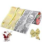 4 Rollos Cinta de Navidad - Decoración Árbol de Navidad para Envolver Regalos, Manualidades - 2.7 m x 4.5 cm, Dorado y Plata