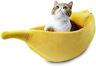 QKWSUGER Cute Banana Cat Bed House Large Size, Pet Bed Cave Soft Cat Cuddle Bed, Lovely Pet Supplies for Cats Kittens Bed,...