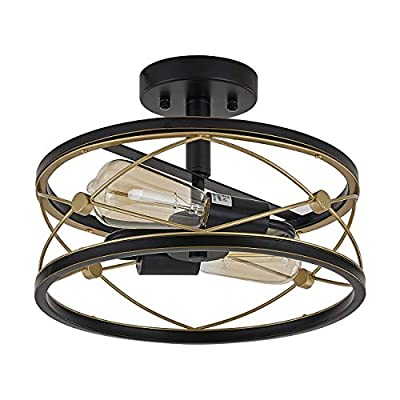 Fansose Industrial Semi Flush Mount Ceiling Light Fixture Farmhouse Round Ceiling Lamp Two-Light Antique Gold and Black,for Hallway Living Room Bedroom Dining Room Kitchen and Entryway.