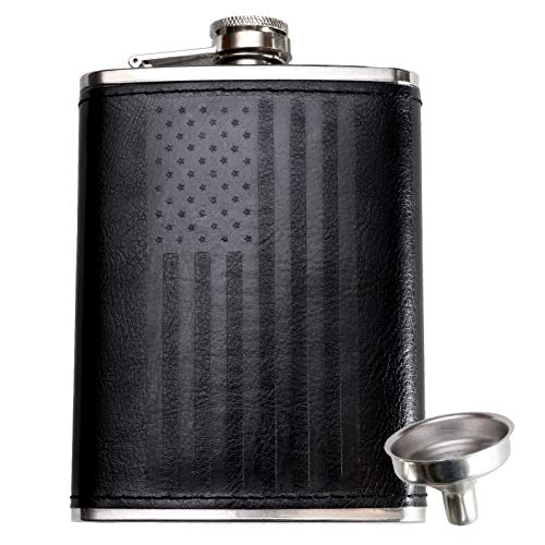 Leather Flask with American Flag by Home Aggressive - 8 Ounce - 18-8 304 Stainless Steel Black Leather Wrap Hip Flask with Funnel for Liquor Whiskey Alcohol Wine or Bourbon - Slim Curved