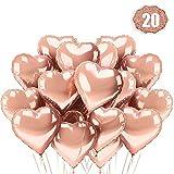 LAKIND Herz Folienballon Rosegold 20 Stück Herz Helium Luftballons Herzluftballons Heliumballon Folienballon Hochzeit Folienluftballon Geeignet für Geburtstag Brautdusche Valentinstag