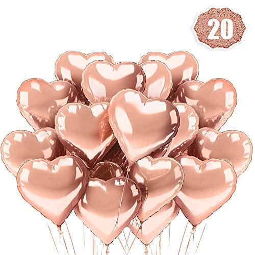 O-Kinee Herz Folienballon Rosegold 20 Stück Herz Helium Luftballons Herzluftballons Heliumballon Folienballon Hochzeit Folienluftballon Geeignet für Geburtstag Brautdusche Valentinstag